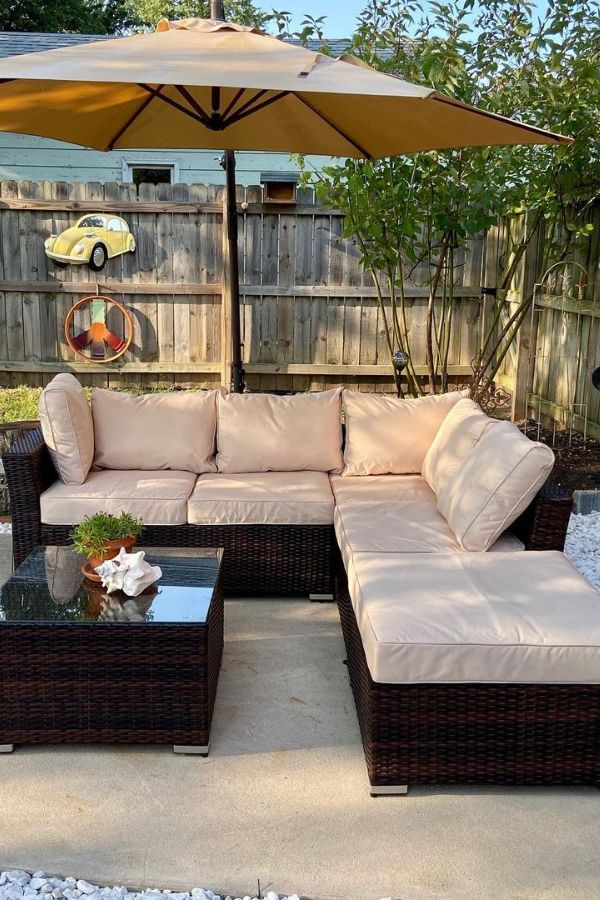 patio sectional dining set